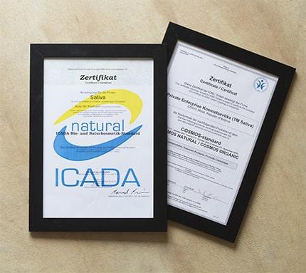 mỹ phẩm hữu cơ, sativa, chứng nhận ICADA